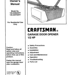 craftsman 139 53975srt user manual 40 pages also for 139 53962 srt genie garage door  [ 954 x 1239 Pixel ]