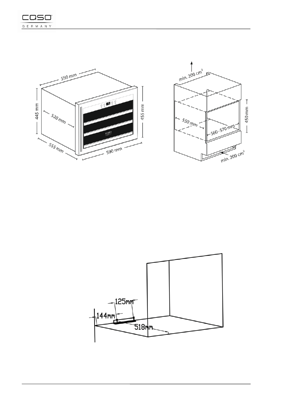 2 installation dimensions (mm), 3 installing in a kitchen