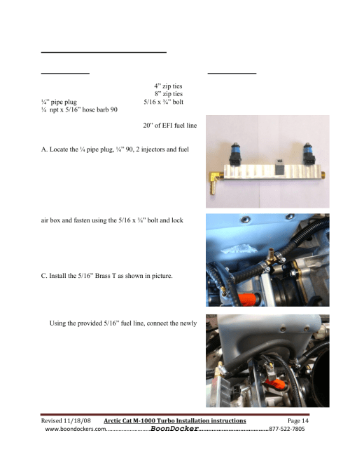 small resolution of step 8 fuel rail installation boondocker arctic cat m1000 race gas user manual page 14 25