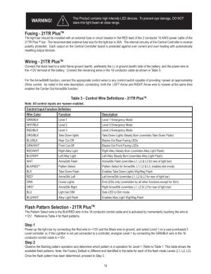 Fusing  21tr plus, Wiring  21tr plus, Flash pattern selection  21tr plus | Code 3 21TR & 21TR