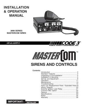 Code 3 MasterCom B Series User Manual | 26 pages