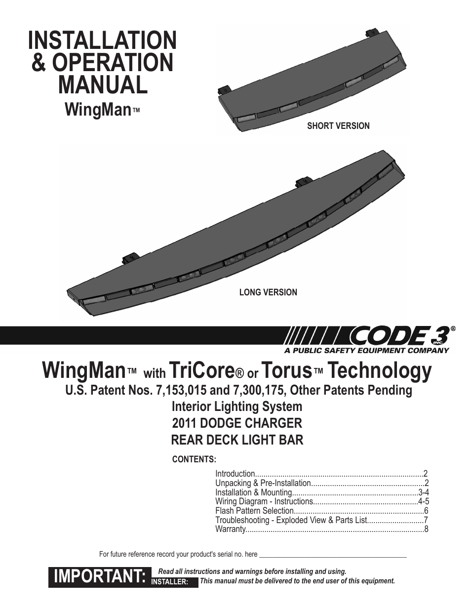Code 3 Wingman with TriCore/Torus for Charger User Manual