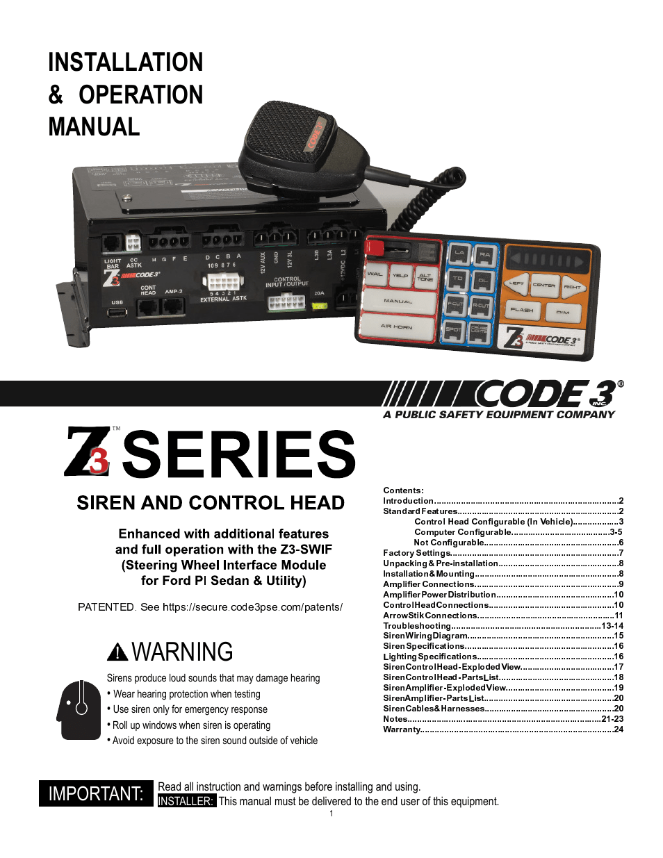 Code 3 Z3 Siren Installation & Operation Manual User
