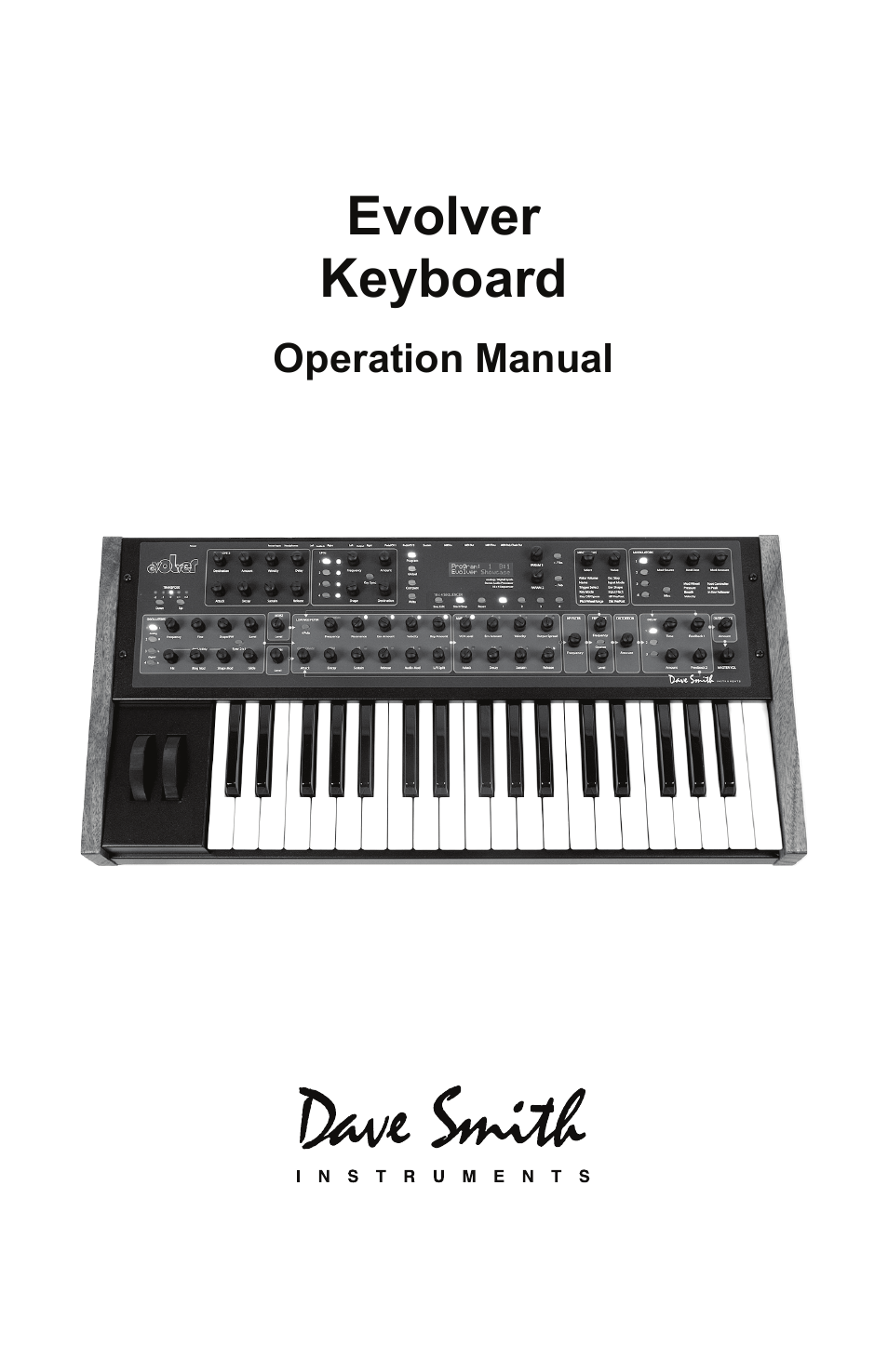Dave Smith Instruments MONO EVOLVER KEYBOARD User Manual