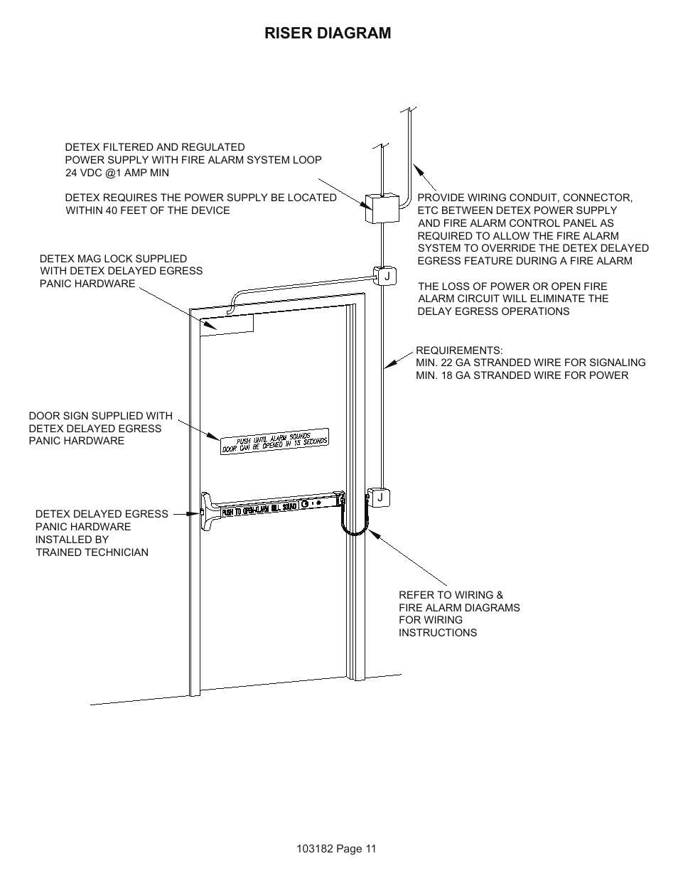 medium resolution of riser diagram detex delayed egress with magnetic lock user manual page 11 16