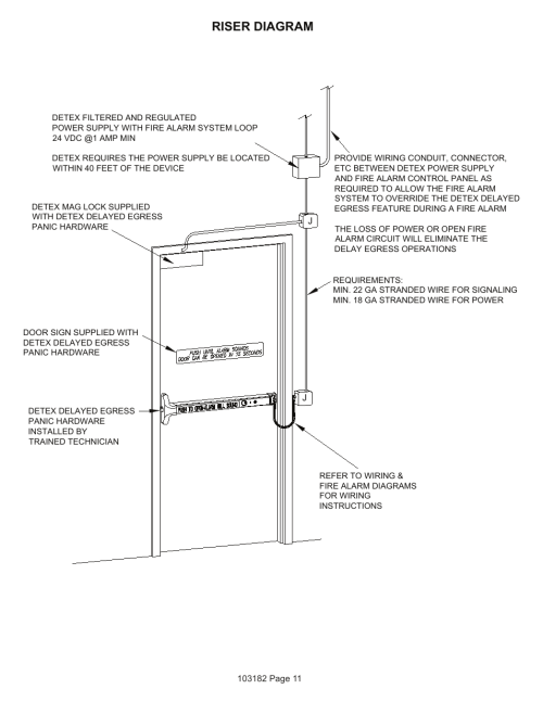 small resolution of riser diagram detex delayed egress with magnetic lock user manual page 11 16