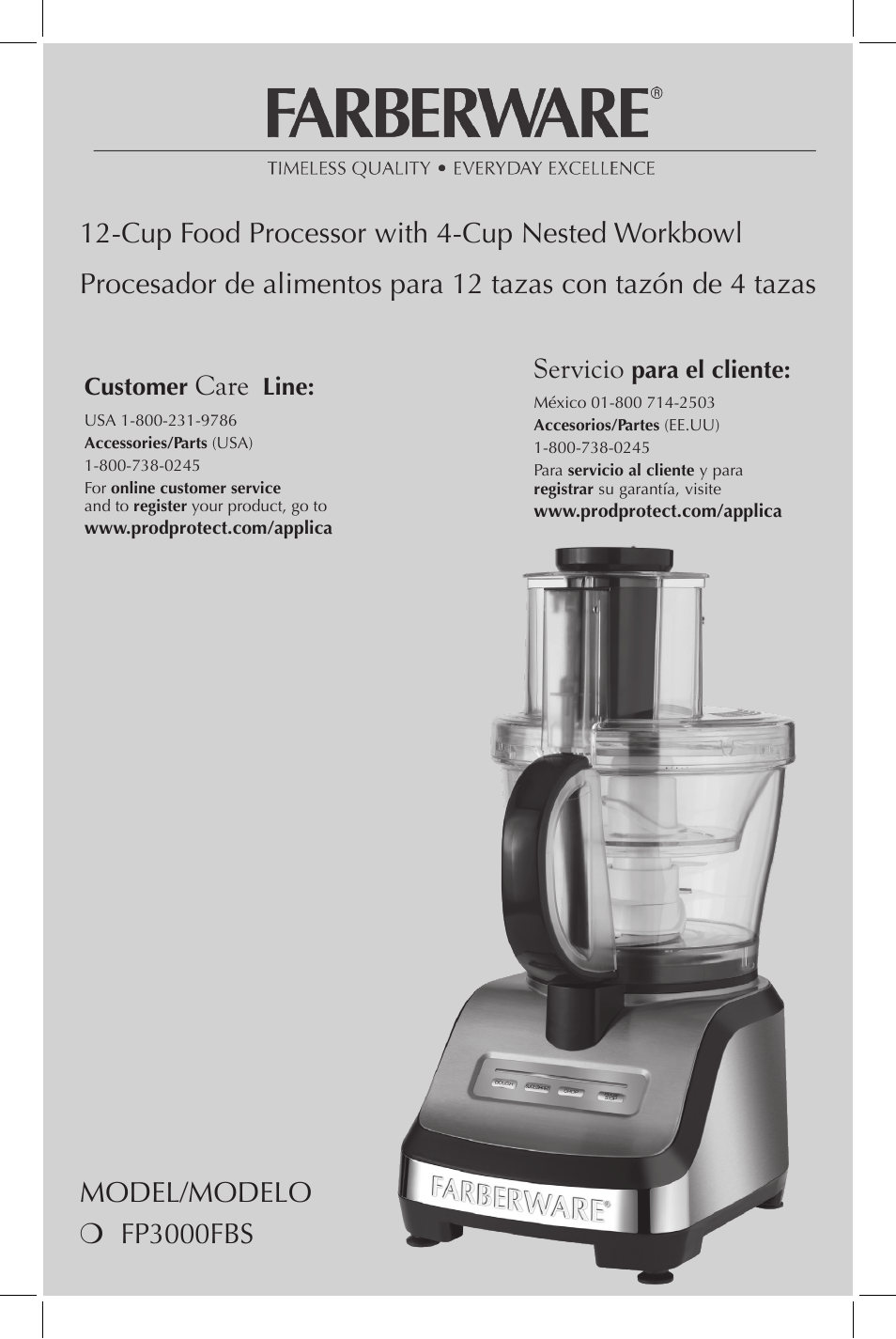 FARBERWARE FP3000FBS 12-Cup Food Processor User Manual