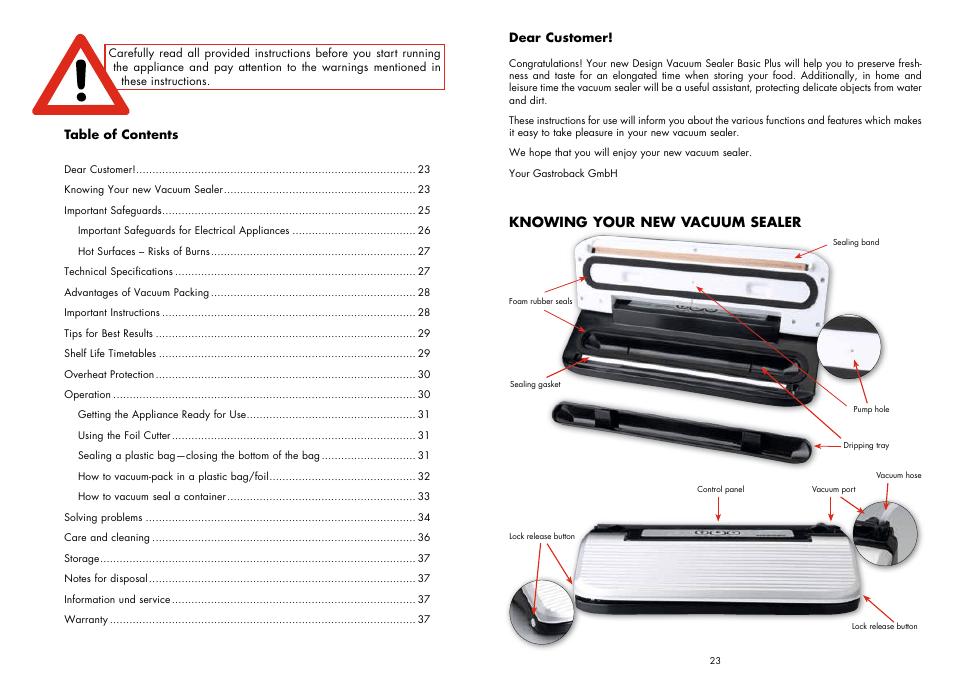 Gastroback 46007 Design Vacuum Sealer Plus User Manual