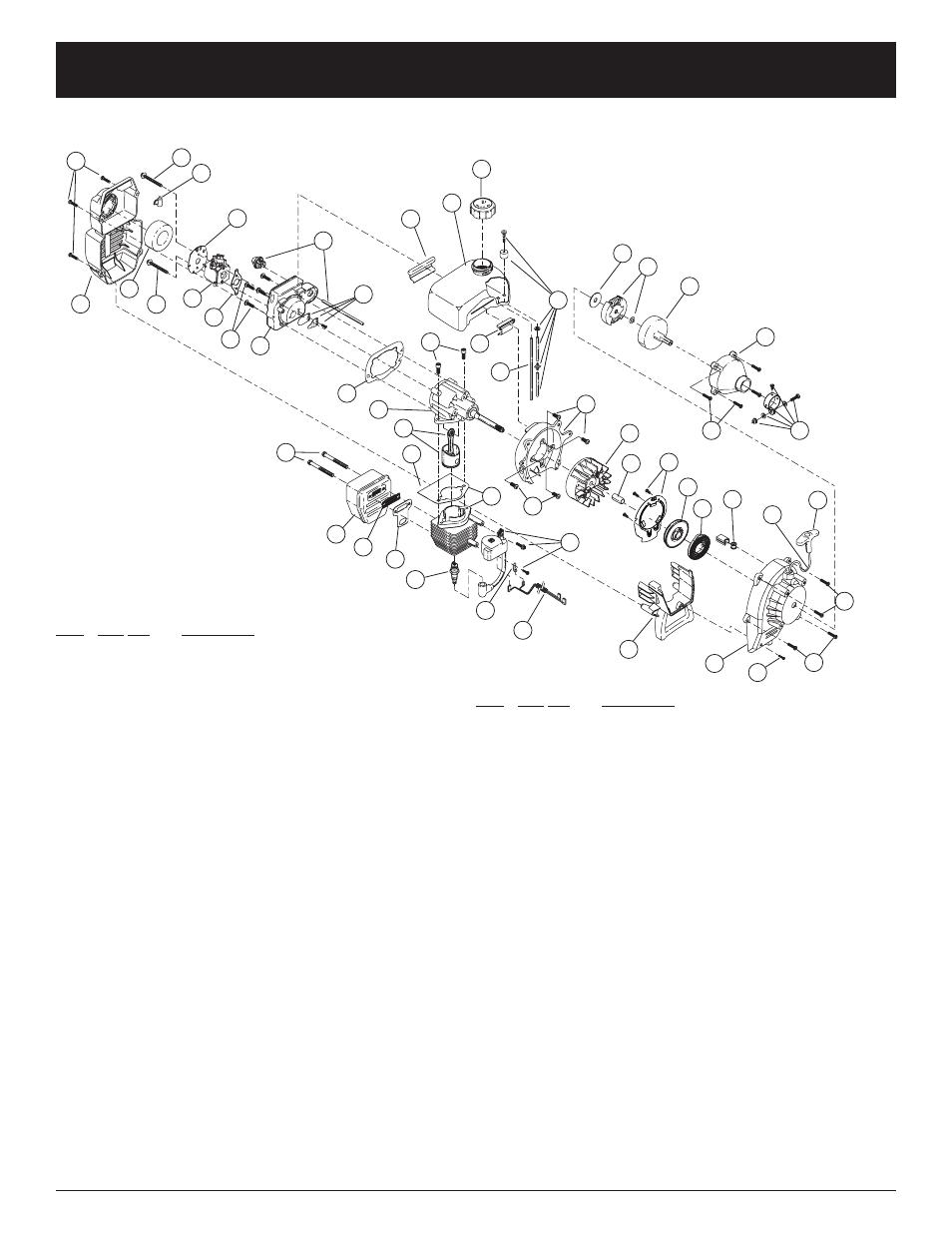 Parts list, Engine parts: model mini-tiller edger 2-cycle