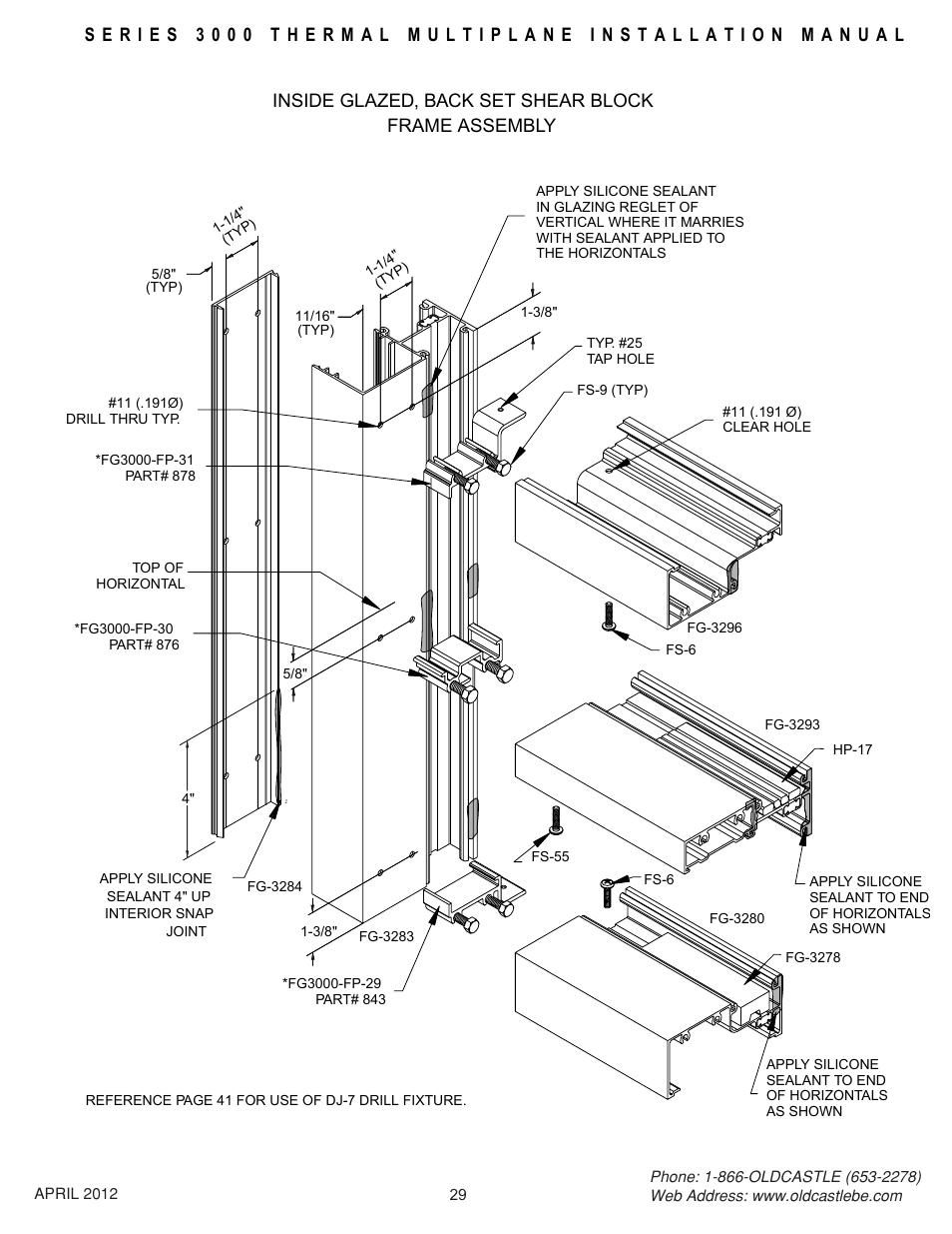 Backset-isg-frm-assy, Inside glazed, back set shear block