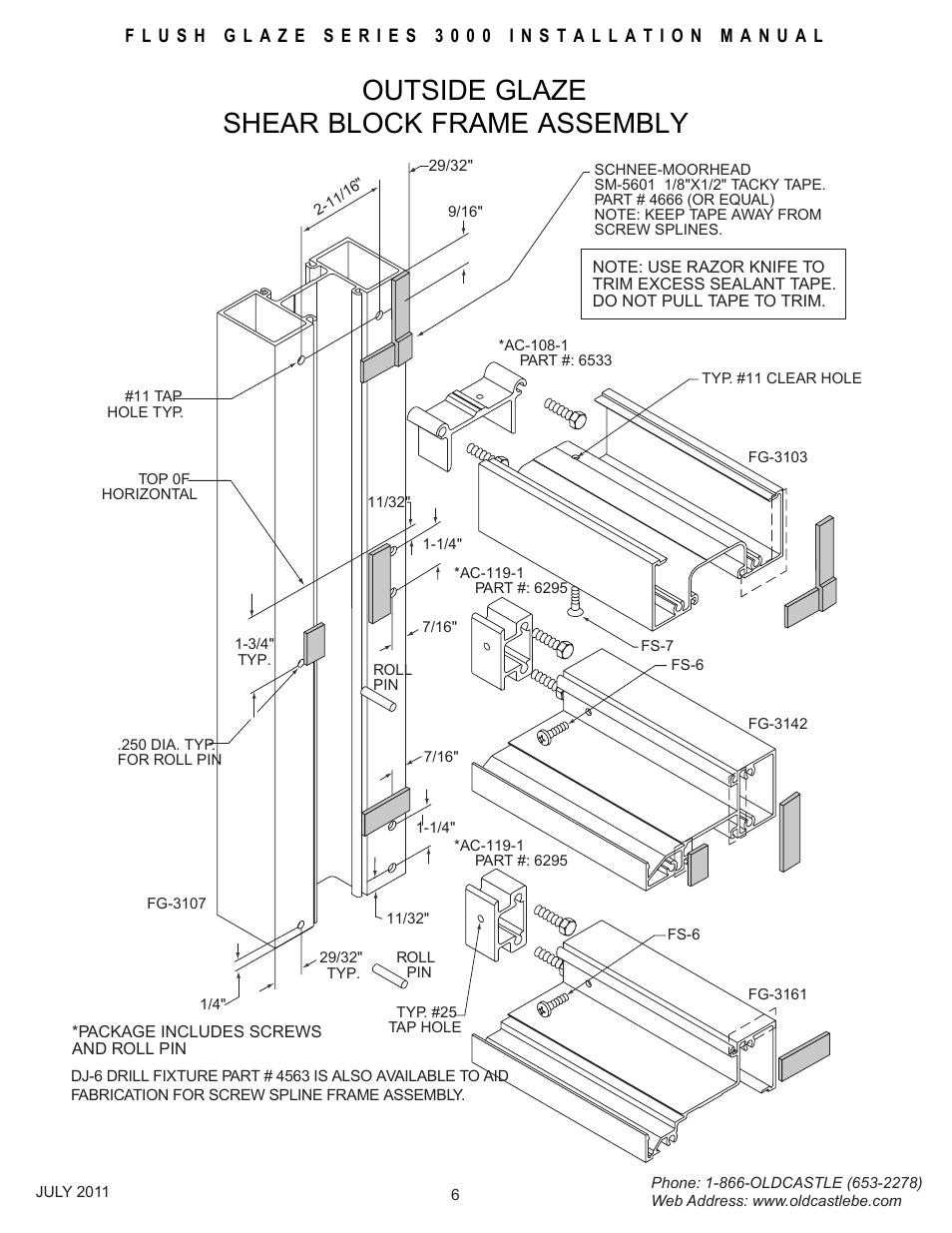 Outsideglz-frm-assembly, Outside glaze shear block frame