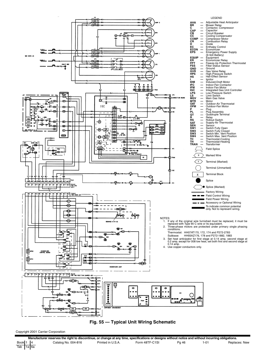 hight resolution of fig 55 typical unit wiring schematic carrier 48tfe008 014 user carrier rooftop unit wiring diagram 55