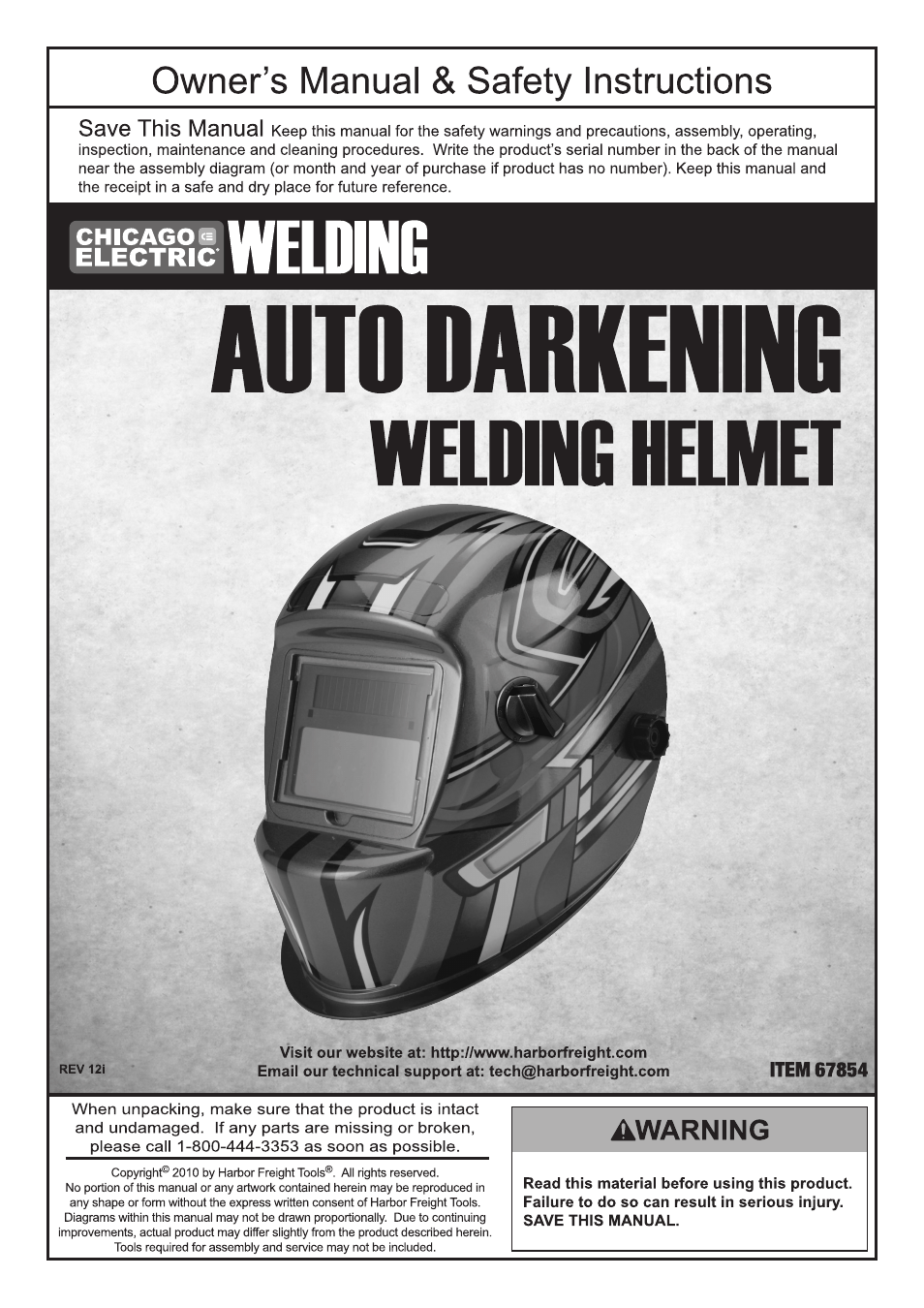 Chicago Electric Auto Darkening Welding Helmet 67854 User