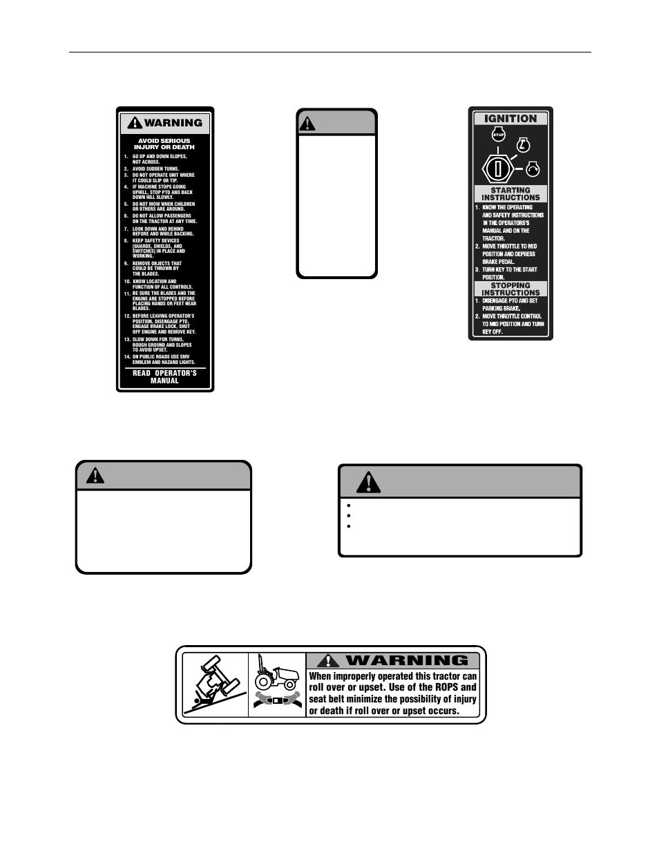 Safety labels, Instruction / warning label on left running