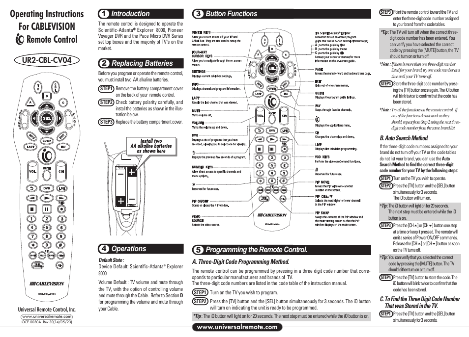 Universal Remote Control (URS) UR2-CBL-CV04 User Manual