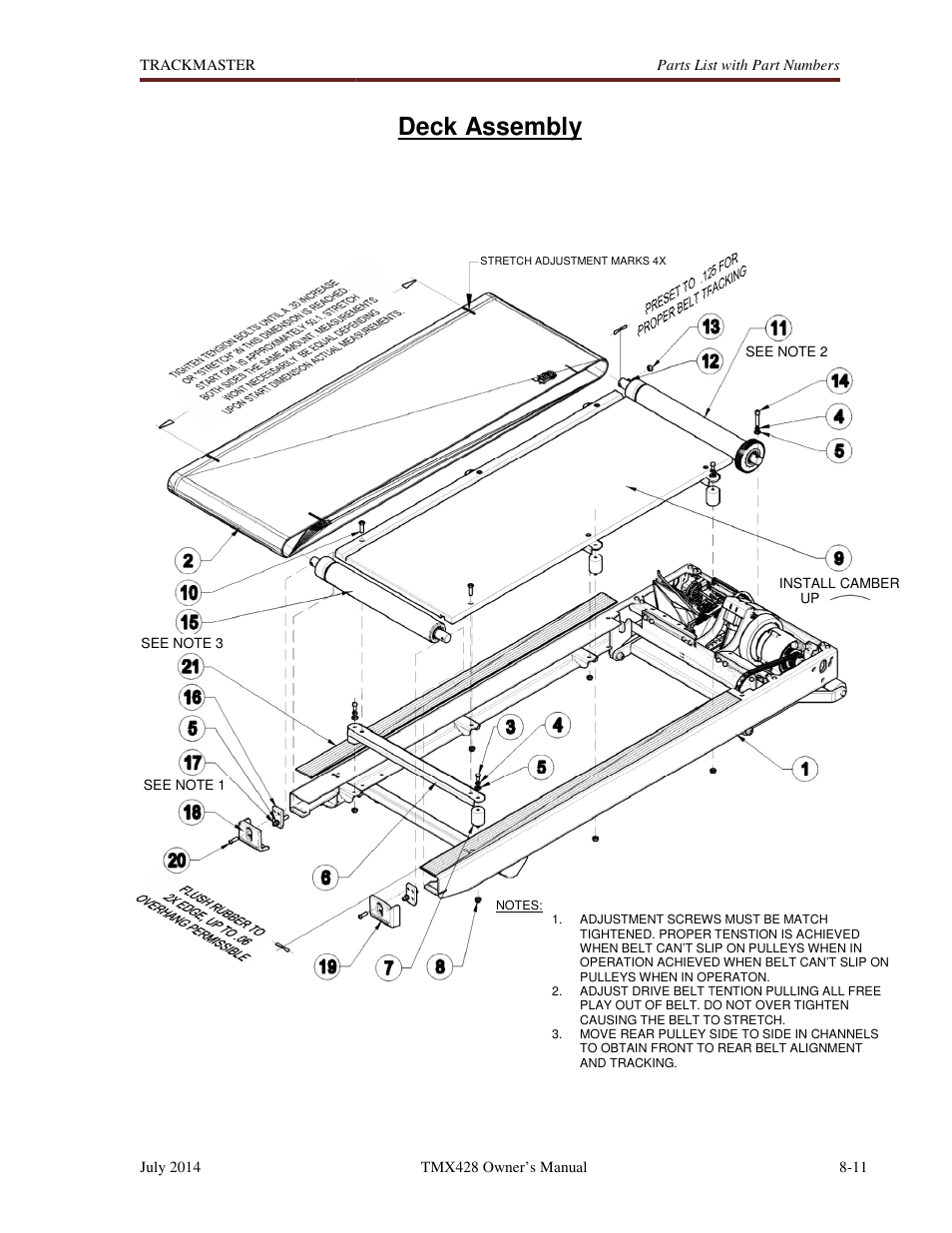 Deck assembly welch allyn tmx428cp trackmaster medical treadmill user manual user manual page deck assembly