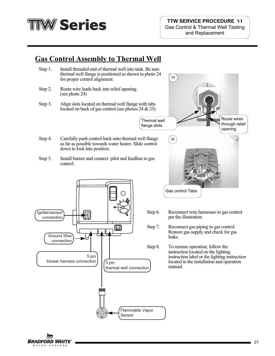 medium resolution of gas control assembly to thermal well bradford white m 2 tw 75t6bn user manual page 27 40