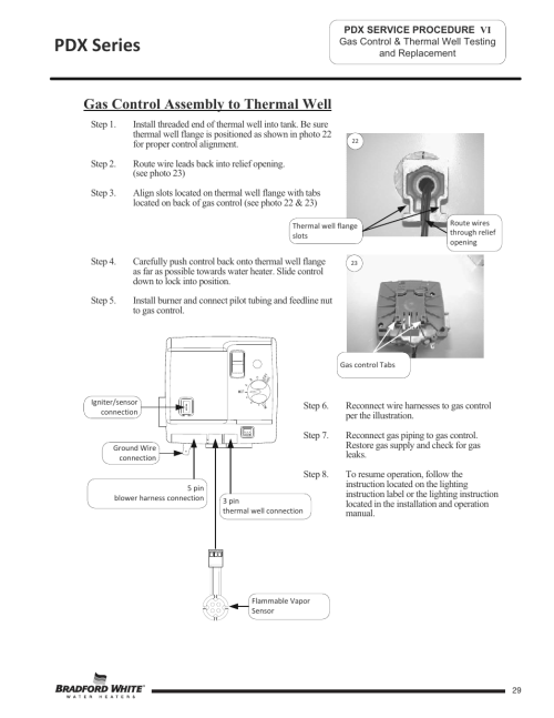 small resolution of pdx series gas control assembly to thermal well bradford white pdx 75s 70fb 3x user manual page 29 44
