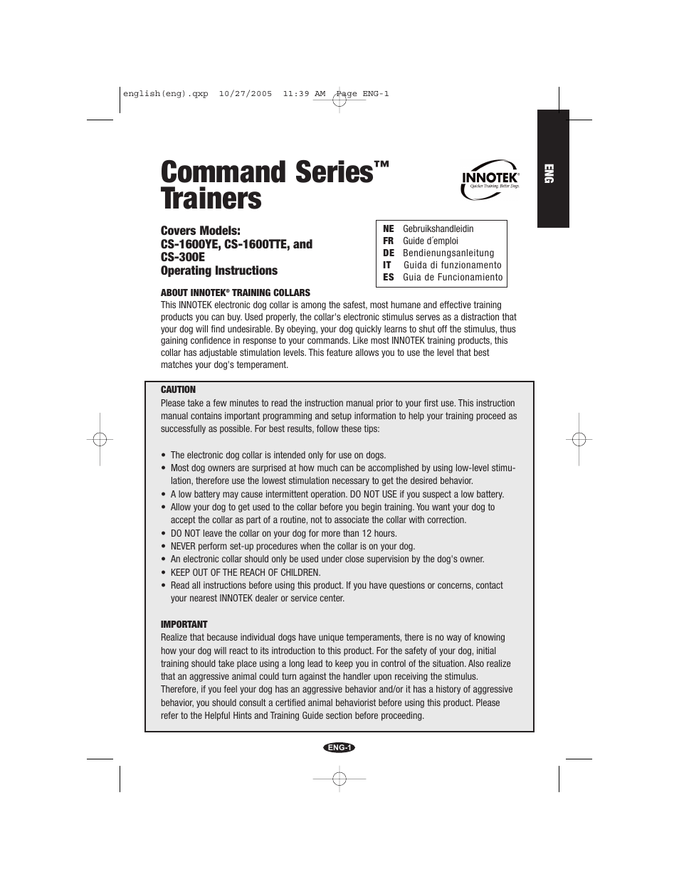 Petsafe Innotek Command Series Remote Trainer User Manual