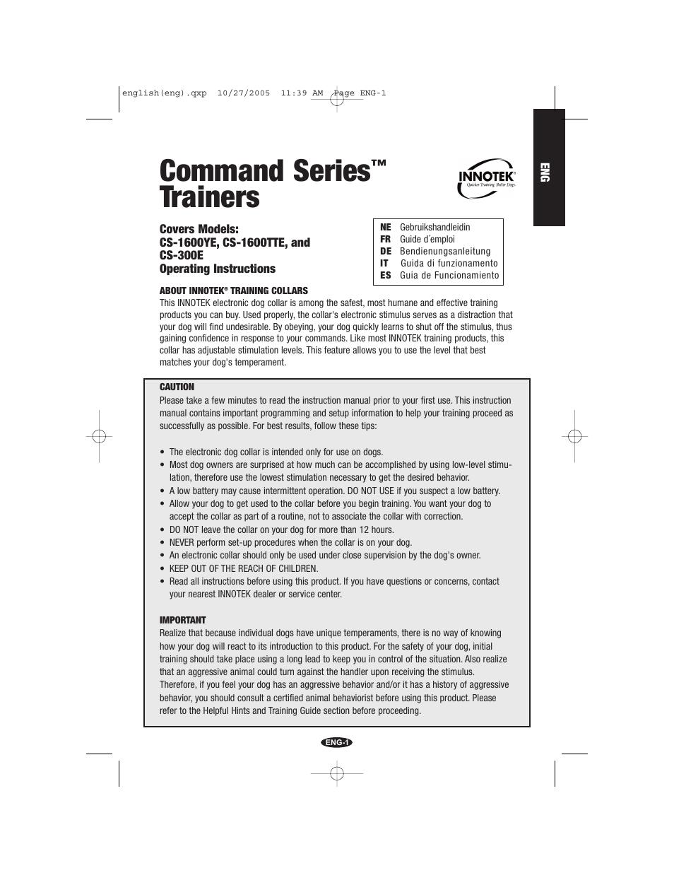 Petsafe Innotek Command Series Remote Trainer User Manual