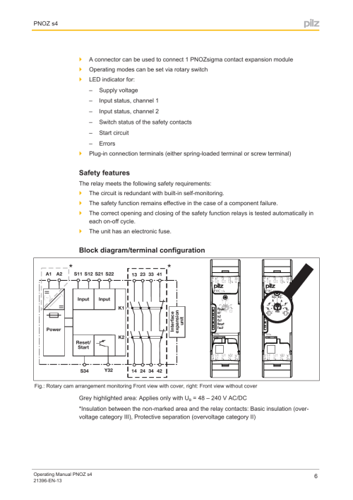 small resolution of safety features block diagram terminal configuration pilz pnoz s4 c 48 240vacdc 3 n o 1 n c user manual page 6 27