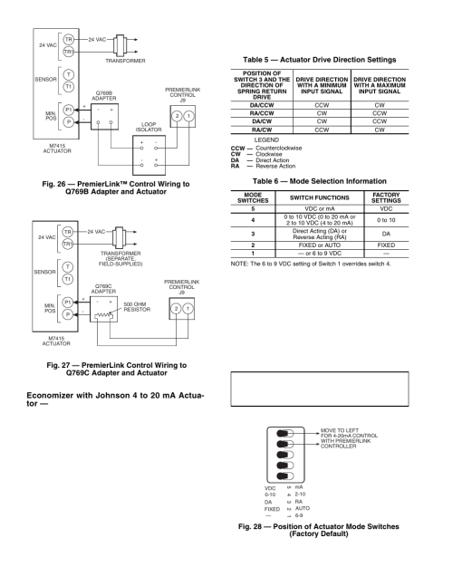 small resolution of economizer with johnson 4 to 20 ma actua tor carrier premierlink 33cspremlk user manual