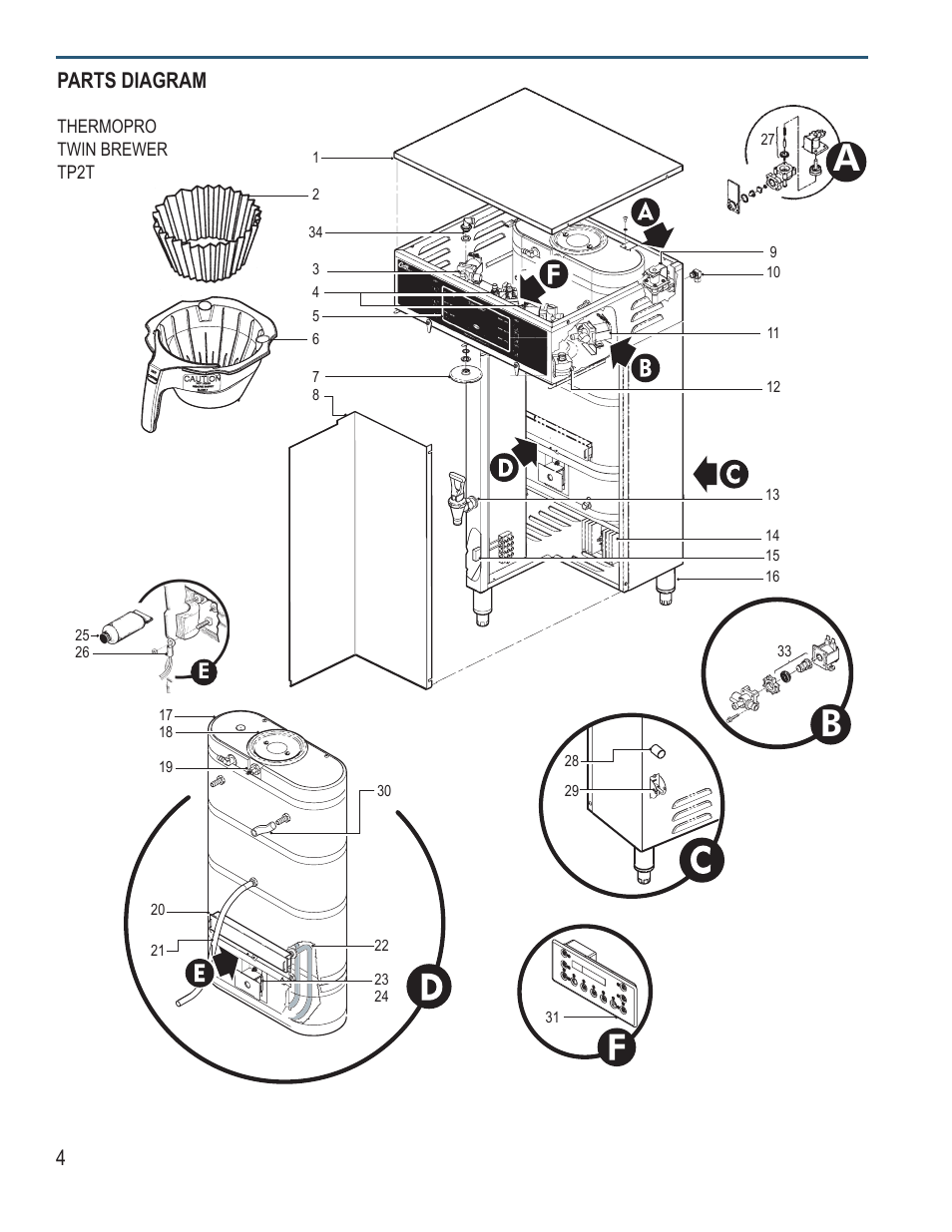 4parts diagram | Wilbur Curtis TP2S