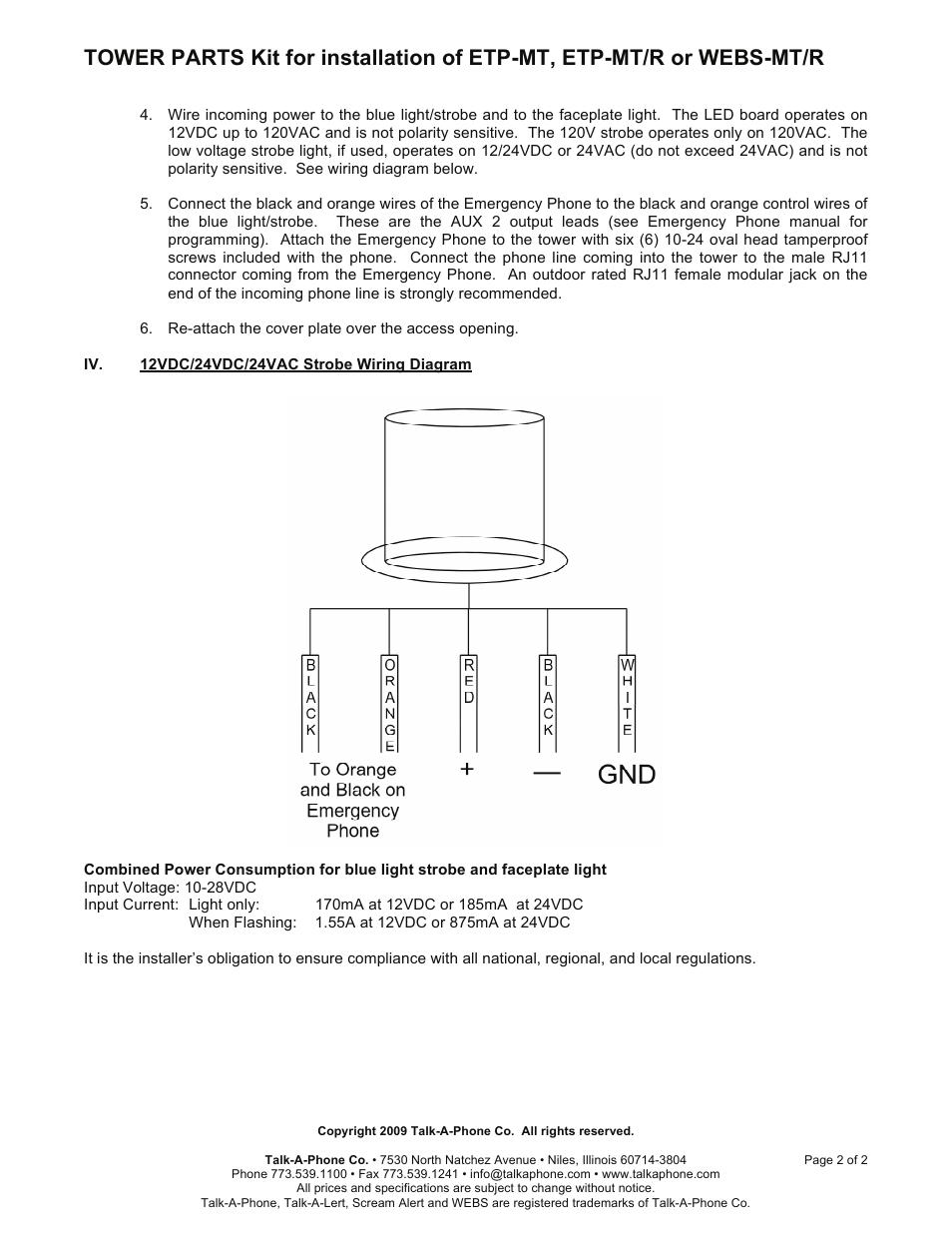 medium resolution of talkaphone etp mt blue light emergency phone tower user manual page 2 2 also for etp mt r op5 cctv radius emergency phone tower etp mt r op4 radius