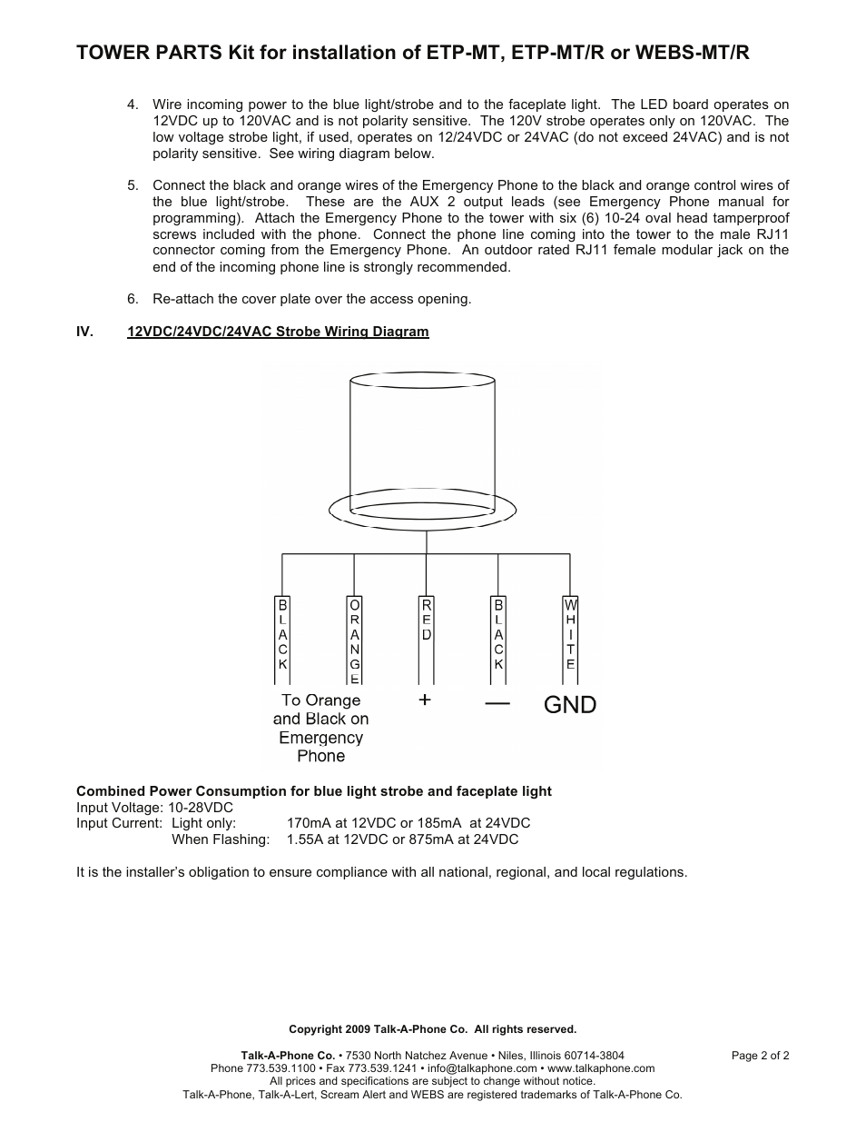 hight resolution of talkaphone etp mt blue light emergency phone tower user manual page 2 2 also for etp mt r op5 cctv radius emergency phone tower etp mt r op4 radius