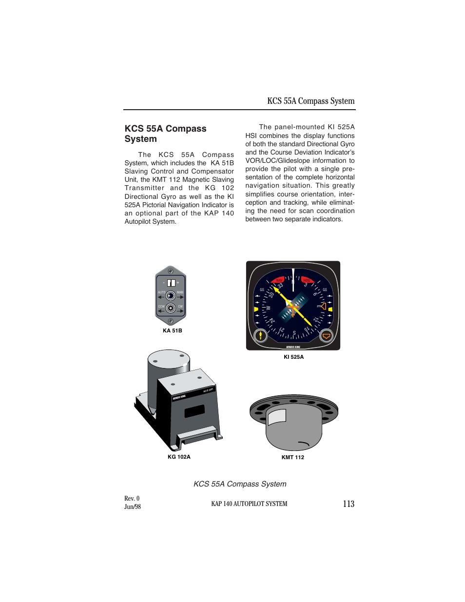 Kcs 55a compasssystem, Kcs 55a compass system, Kap 140