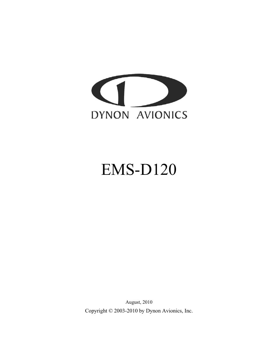 Dynon Avionics EMS-D120 Installation Guide User Manual