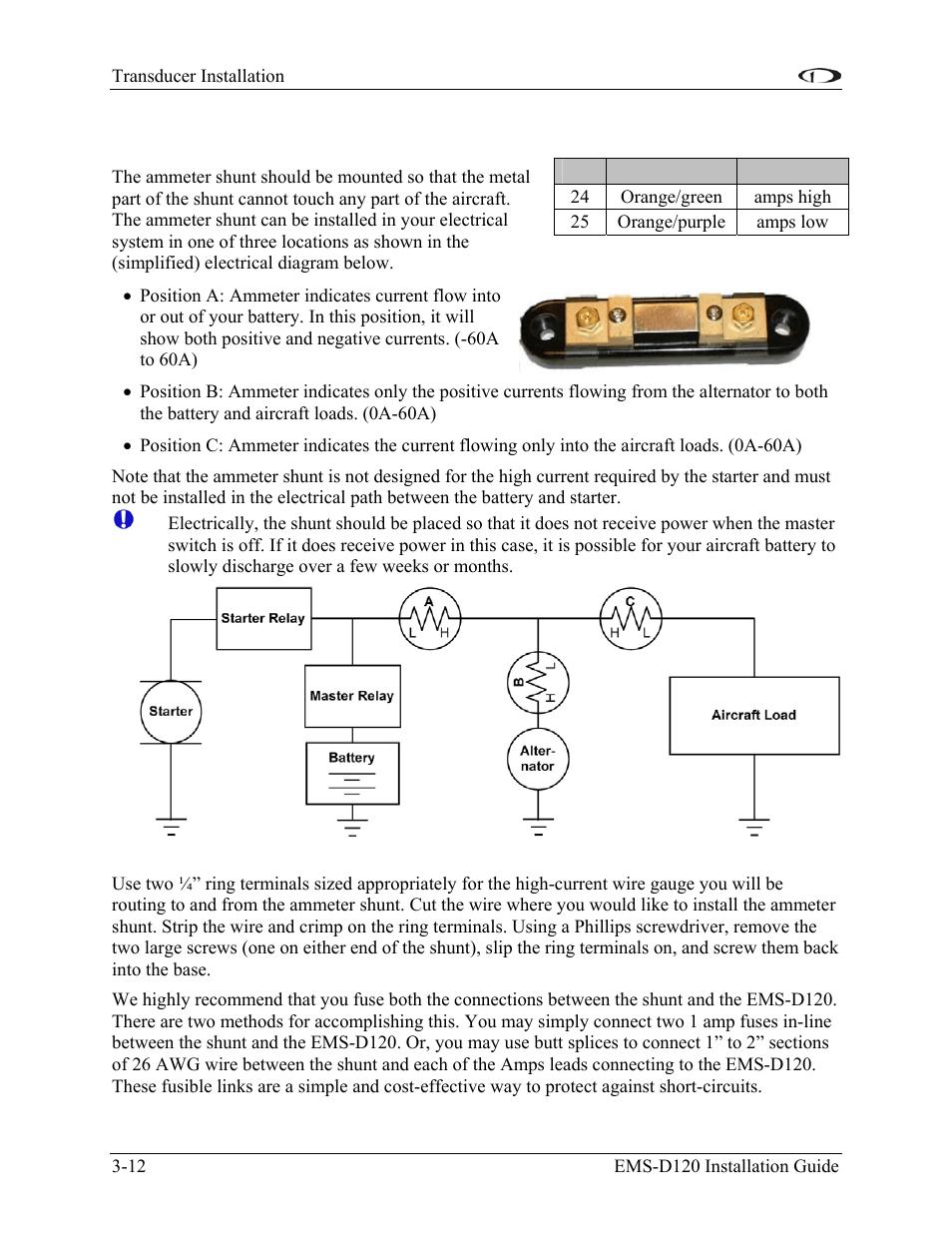 medium resolution of ammeter shunt ammeter shunt 12 dynon avionics ems d120 installation guide user manual page 26 70