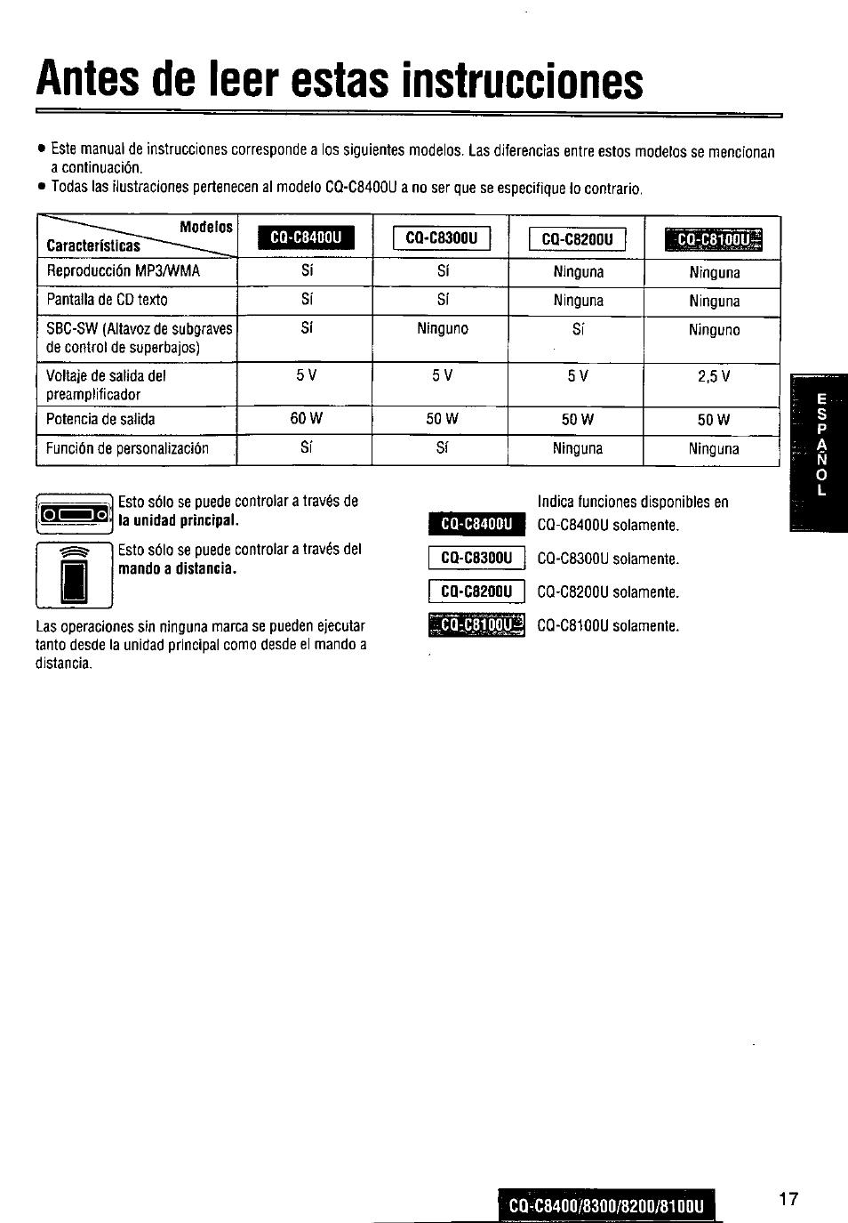 hight resolution of antes de leer estas instrucciones cq c8300u cq c820qu panasonic cq