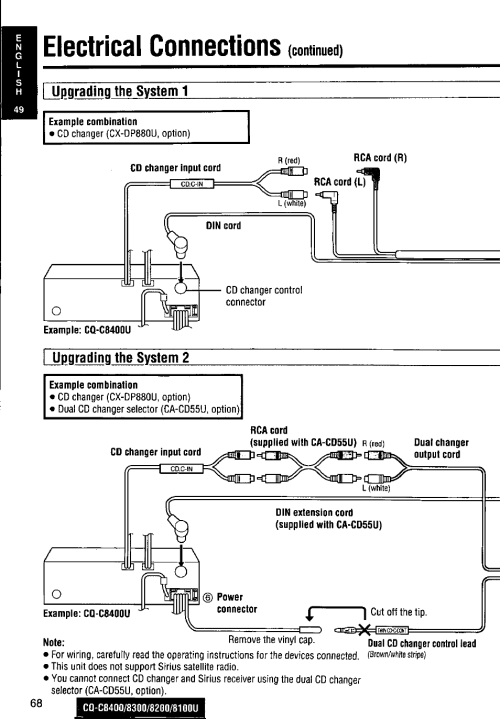 small resolution of i upnradinq the system 1 example combination electrical connections panasonic cq c8300u user manual page 68 176