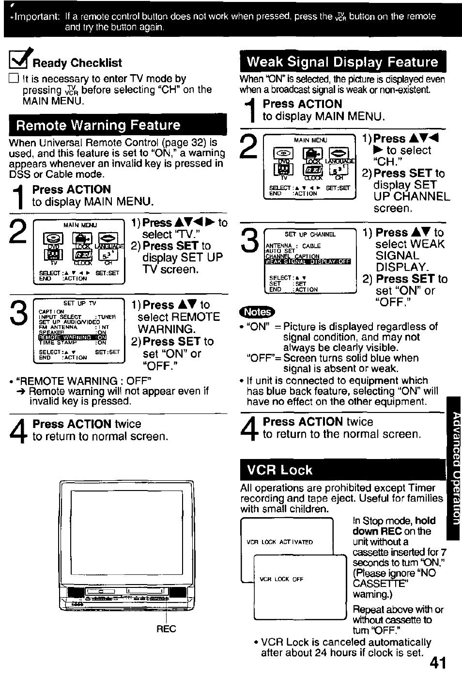 Ix^readv checklist, Remote warning feature, Press action