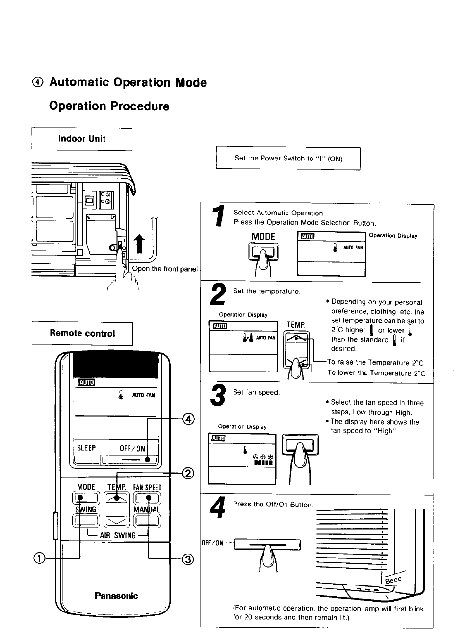 Indoor unit, Panasonic, Automatic operation mode operation