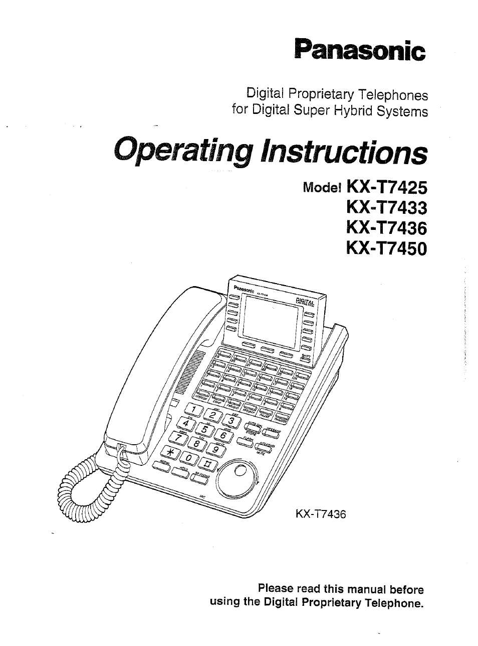 Panasonic Kx T7716 Operating Instructions