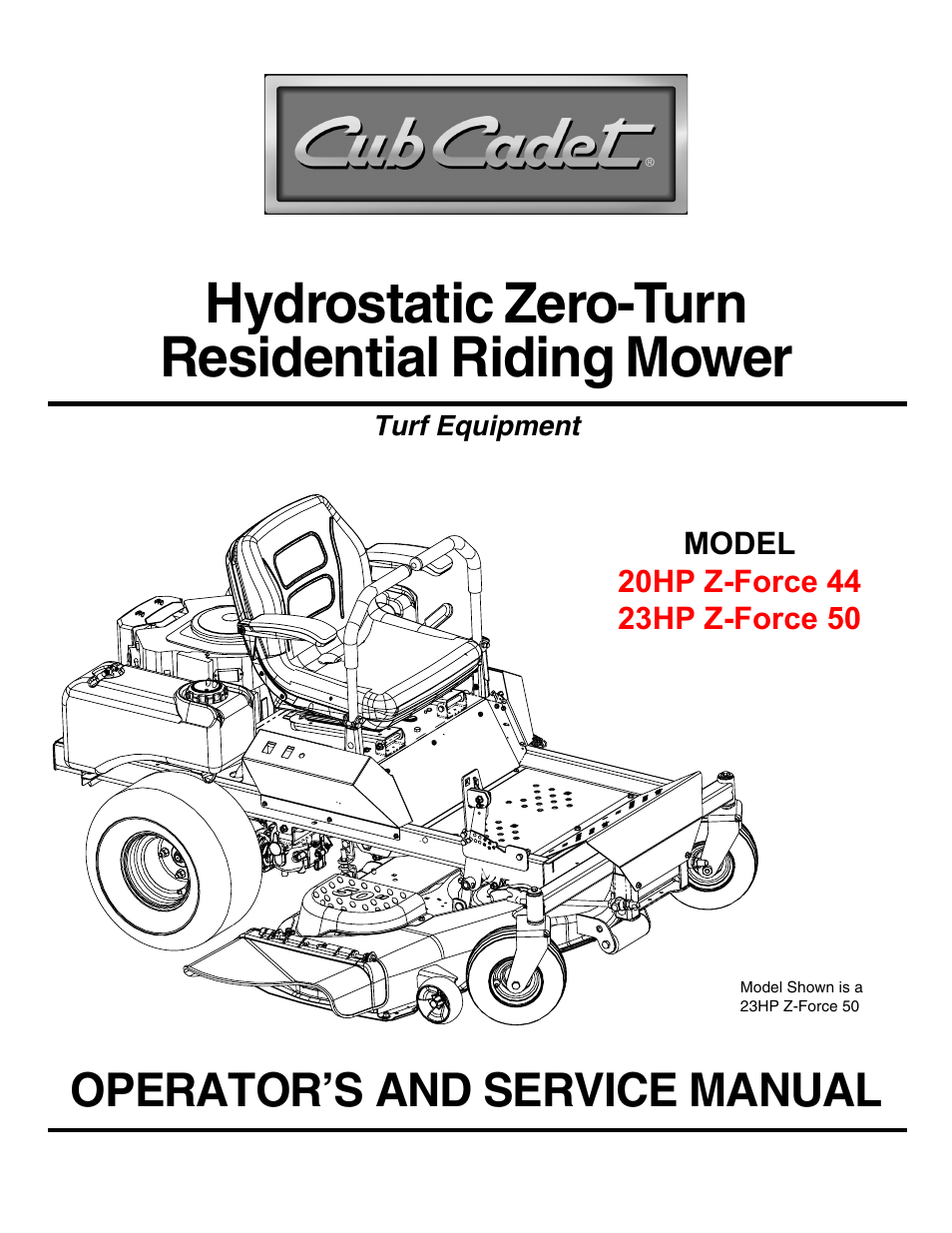 hight resolution of cub cadet 23hp z force 50 user manual 32 pages also for