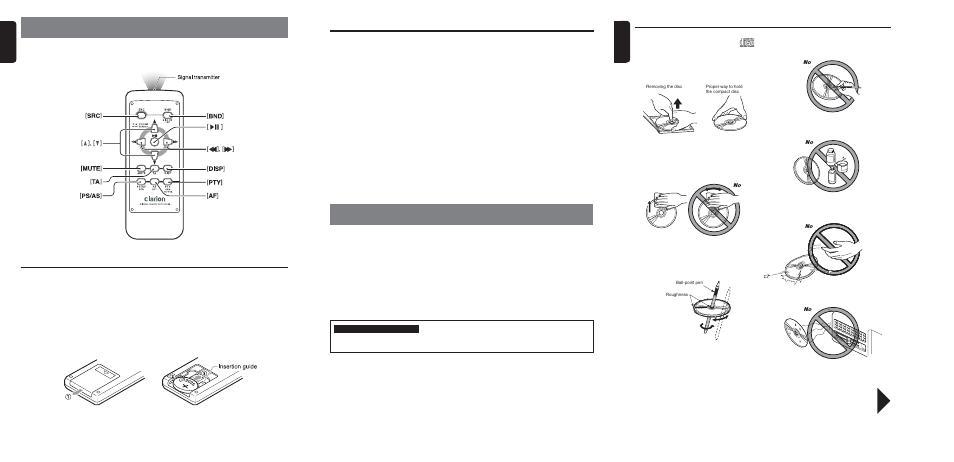 Precautions, Handling compact discs, Remote control