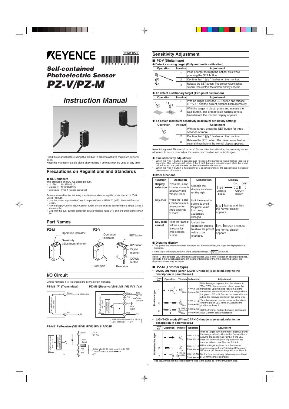 3 Pin Wiring Diagram Keyence Pz V M User Manual 2 Pages