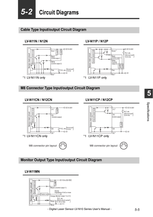 small resolution of circuit diagrams cable type input output circuit diagram m8 connector type input output circuit diagram keyence lv n10 series user manual page 93
