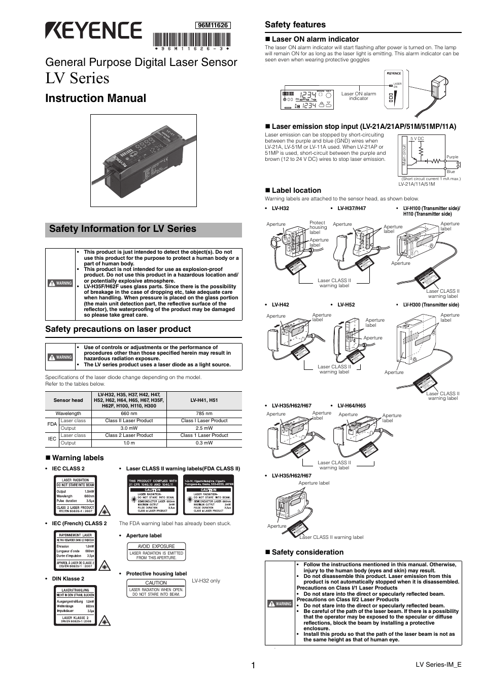 3 Lamp Wiring Diagram Keyence Lv Series User Manual 10 Pages