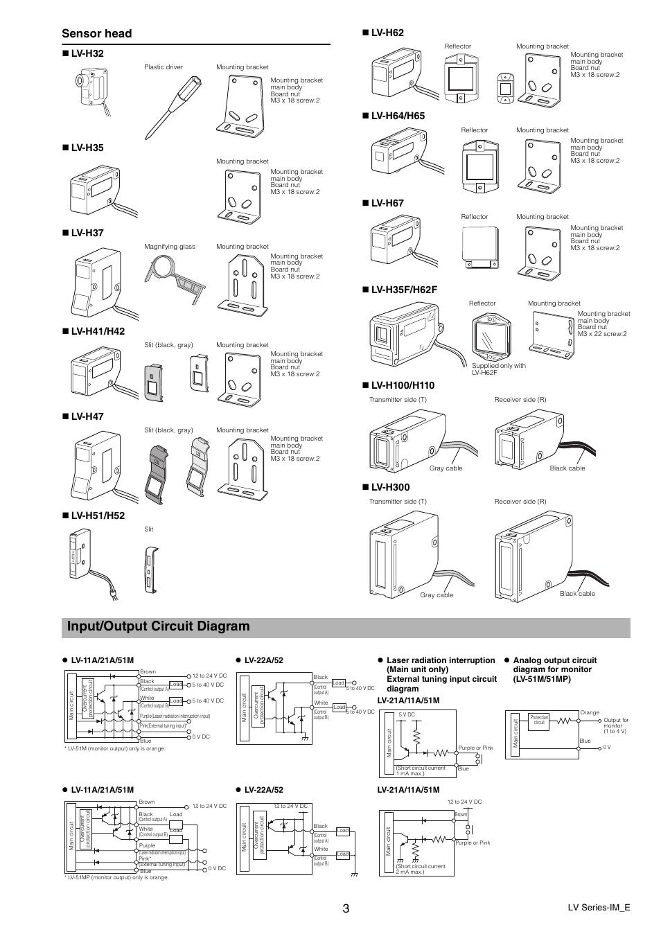 medium resolution of input output circuit diagram sensor head lv series im e keyence lv series user manual page 3 10