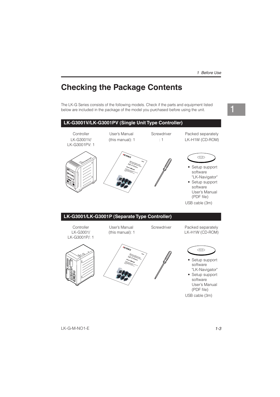 Checking the package contents, Lk-g3001v/lk-g3001pv