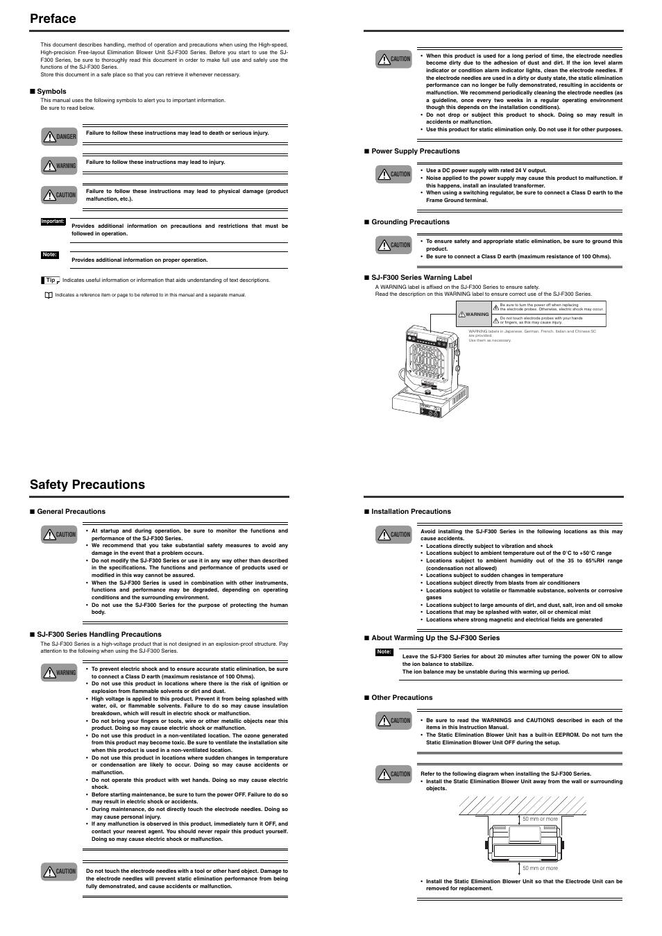 Preface, Safety precautions, Start /stop balance ion fan