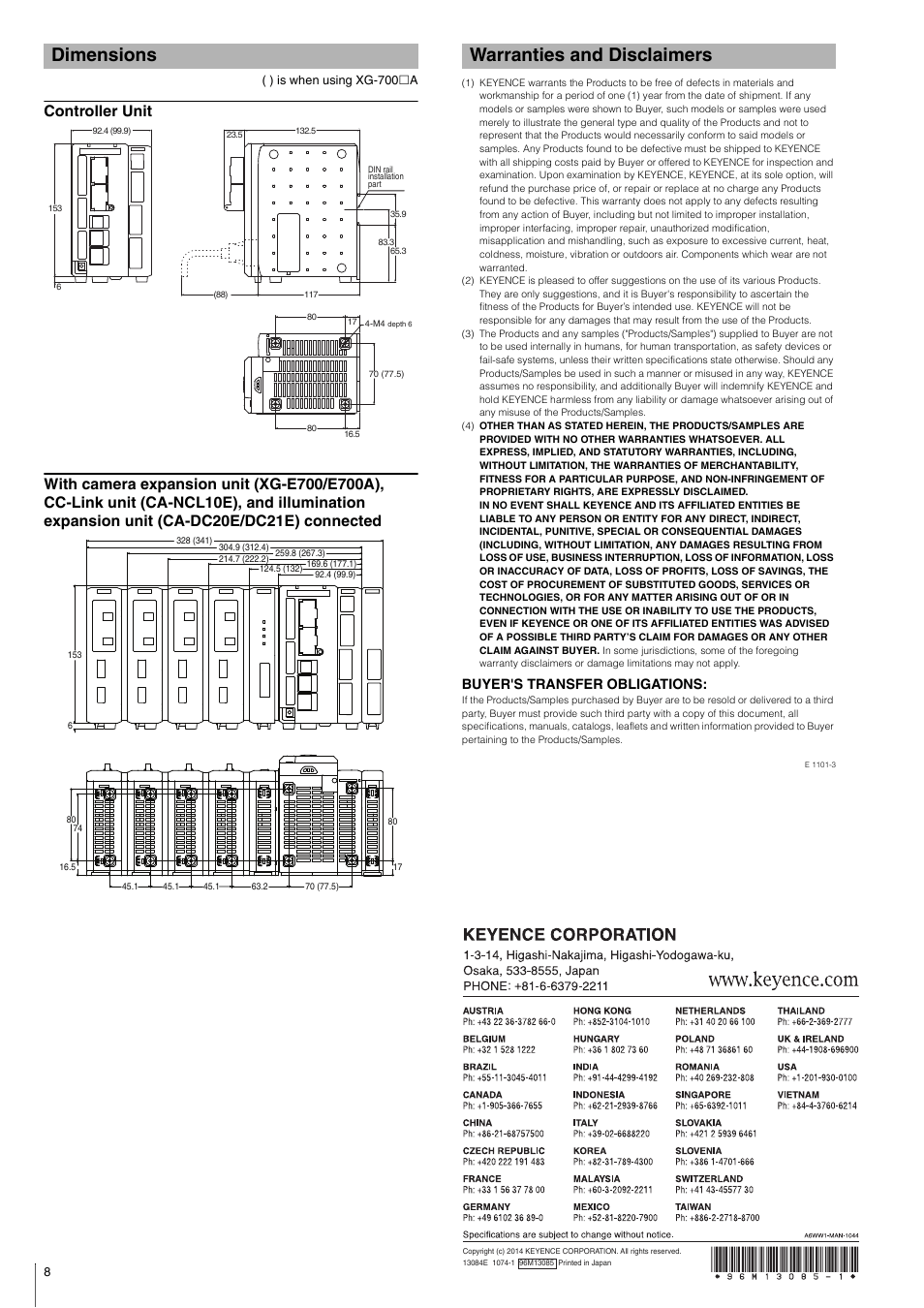 Dimensions, Controller unit, Warranties and disclaimers