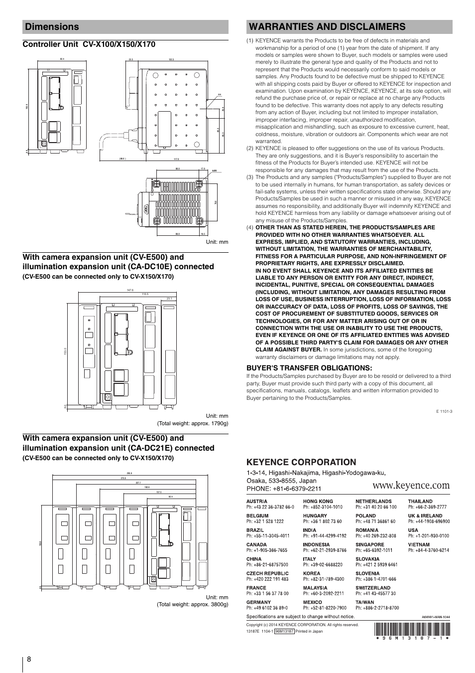 Dimensions, Controller unit cv-x100/x150/x170, Warranties