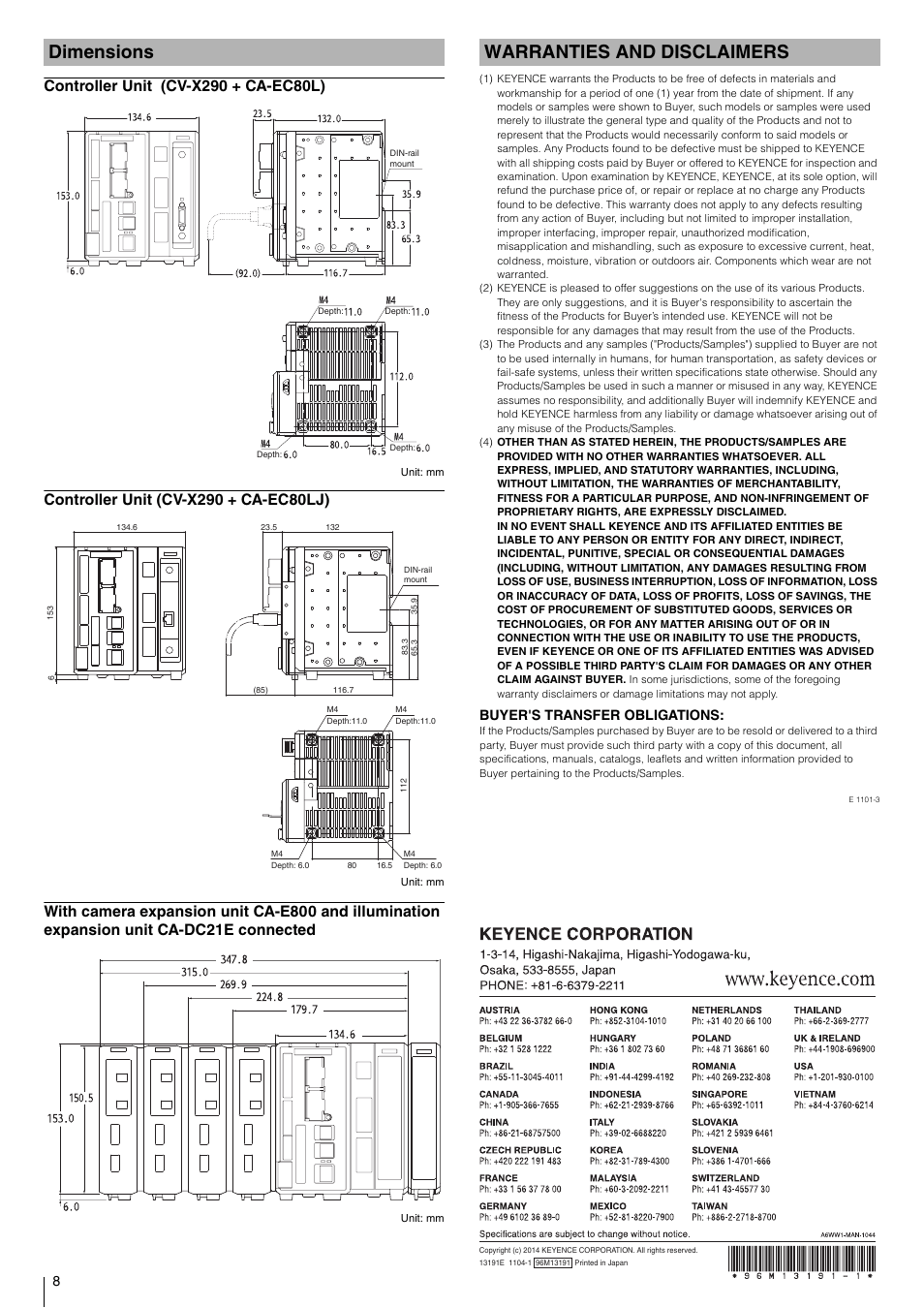 Dimensions, Controller unit (cv-x290 + ca-ec80l