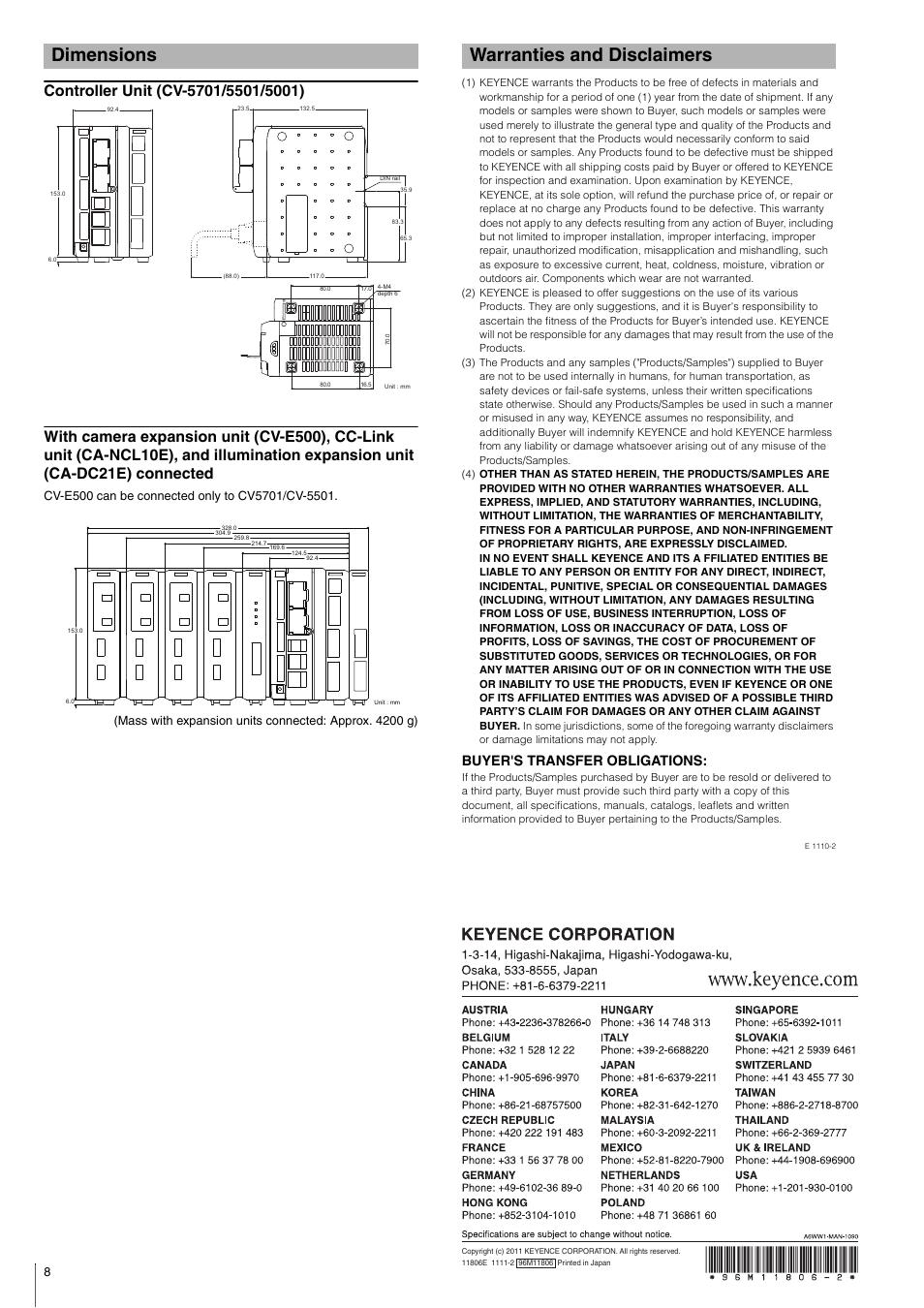 Dimensions, Controller unit (cv-5701/5501/5001