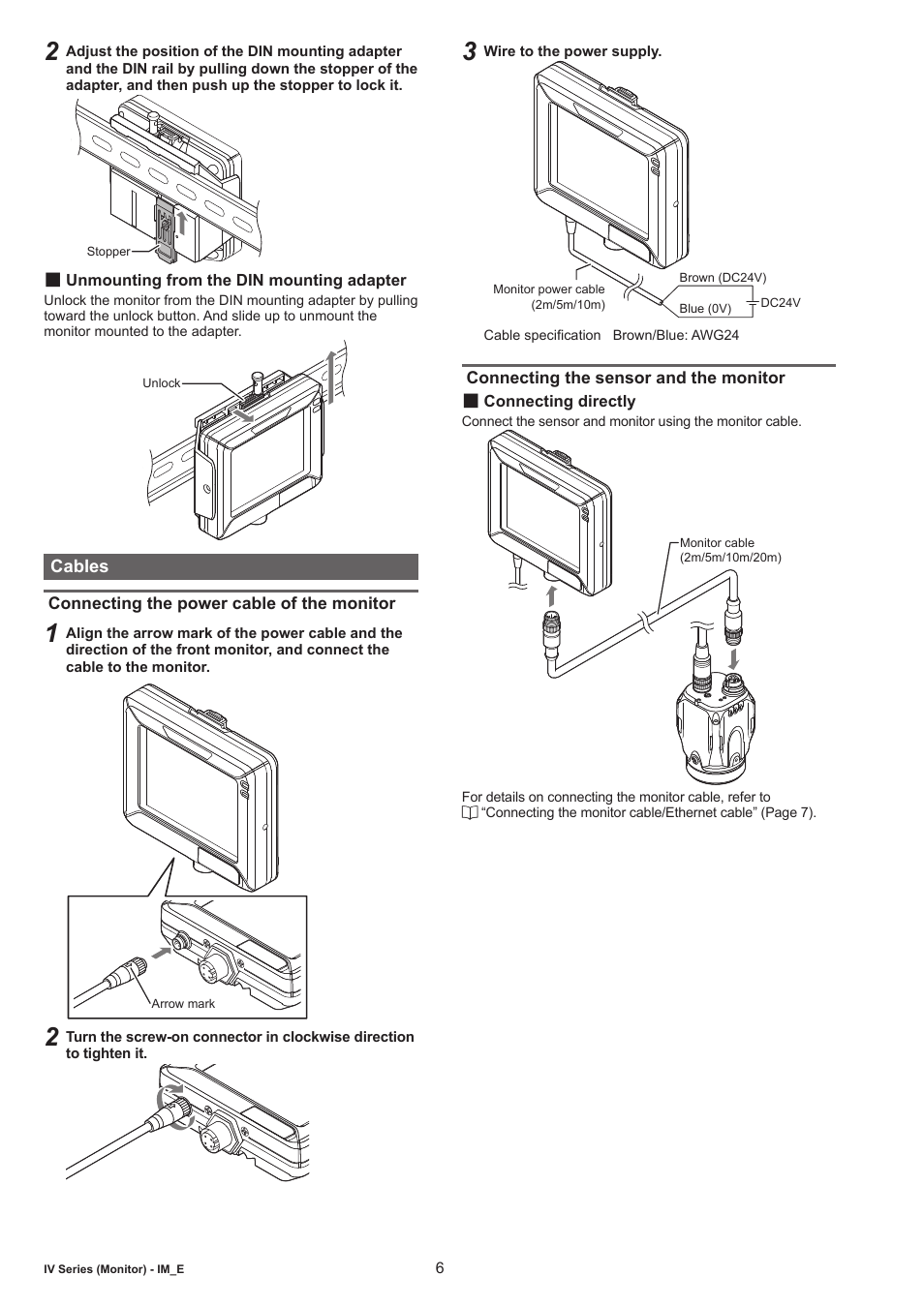 Unmounting from the din mounting adapter, Cables